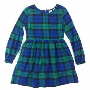 Gap Kids Lantern Sleeve Plaid Flannel Dress